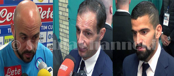 Napoli - Juventus 3 a 2. Reina, Allegri e Rincon in mixed zone